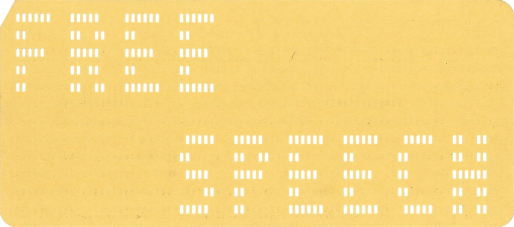 1964 12-03 FREE SPEECH punchcard yellow